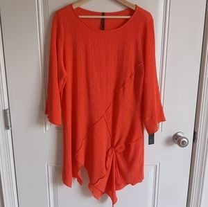 NWT IC By Connie K Orange Textured Tunic Size XL